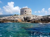 Austrian fortress Arza, Adriatic sea Royalty Free Stock Image