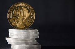 Austrian Gold Coin Philharmonic on Silver Coins.  stock images