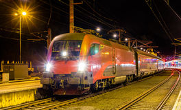 Austrian high-speed train, Feldkirch station Stock Photos