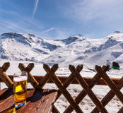 Austrian Hintertux ski resort. Glass of beer on table in the Austrian Hintertux ski resort. Alps Stock Images