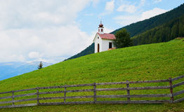 Austrian landscape with little church Stock Image