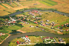 Austrian landscape with river seen from a plane Stock Image