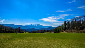 Austrian landscape - snow capped Schneeberg mountain top Stock Photo