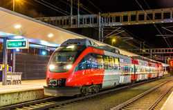 Austrian local train at Feldkirch station Royalty Free Stock Photo