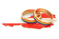 Austrian map with LGBT rainbow rings, 3D rendering. Austrian map with LGBT rainbow rings, 3D Stock Photography