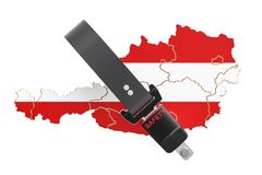 Austrian map with safety belt. Security and protect or insurance Stock Photo