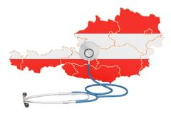 Austrian map with stethoscope, national health care concept, 3D Royalty Free Stock Photography