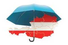 Austrian map under umbrella. Security and protect or insurance c Stock Photography