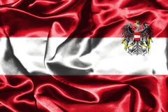 Austrian National Flag With Coat Of Arms. Austrian Flag Grunge Looking With Coat Of Arms Eagle Emblem Stock Images