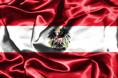 Austrian National Flag With Coat Of Arms. Austrian Flag Grunge Looking With Coat Of Arms Eagle Emblem Stock Image