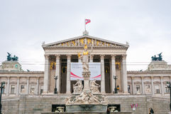 Austrian Parliament and Athena monument in Vienna, Austria Royalty Free Stock Photos