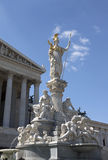 Austrian parliament building. The Athena Fountain (Pallas-Athene-Brunnen) in front of the Austrian Parliament building in Vienna Stock Photo