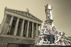 Austrian parliament building with Athena statue Stock Photography