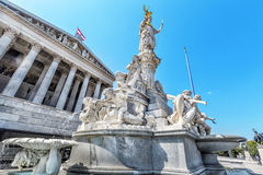 Austrian parliament building with famous Pallas Athena fountain. Stock Image