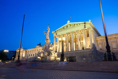 Austrian Parliament Building at night Stock Images