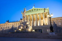 Austrian Parliament Building at night Royalty Free Stock Photos
