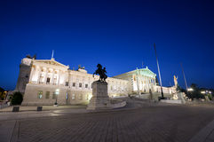 Austrian Parliament Building at night Stock Photography