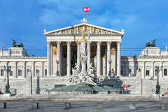 Austrian Parliament Building and Pallas Athene Fountain in Vienna Royalty Free Stock Image
