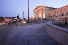 Austrian Parliament Building in Vienna at night Royalty Free Stock Photos