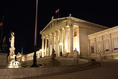 Austrian Parliament building in Vienna at night Royalty Free Stock Image
