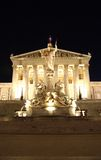 Austrian Parliament building in Vienna at night Royalty Free Stock Images