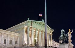 The Austrian Parliament palace in Vienna at night, Austria royalty free stock images