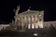 Austrian parliament and Pallas Athene Fountain Royalty Free Stock Photography