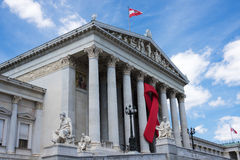 Austrian Parliament With Red Ribbon Stock Photo