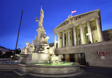 Austrian Parliament in Vienna by night Stock Photo