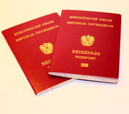 Austrian passport. The new Austrian passport Closeup Royalty Free Stock Image