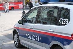 Austrian police car. No logos visible. Close up of austrian police car on Vienna street stock images