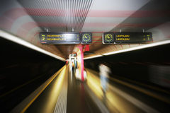 Austrian railway station zoom blurred Royalty Free Stock Images
