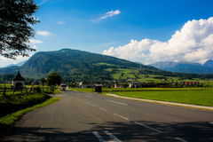 Austrian road in Alps Stock Photo