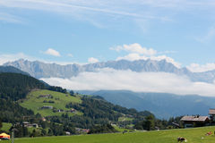 Austrian rural Village Leogang. Austrian village, a rural village in the middle of the grand alps Royalty Free Stock Photography