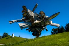 Austrian Sculptures Park - Airplane Parts and Hills royalty free stock images