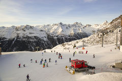 Austrian ski resort Ischgl with skiers. Stock Photo