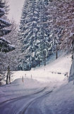 Austrian snow landscape like on old postcard Royalty Free Stock Images
