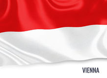 Austrian state Vienna flag. Austrian state Vienna flag waving on an isolated white background. State name is included below the flag. 3D rendering Royalty Free Stock Photography