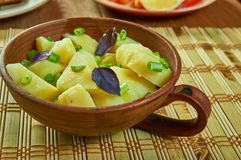Austrian-Style Potato Salad. Erdapfelsalat , close up royalty free stock image