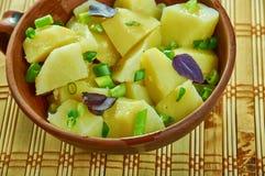 Austrian-Style Potato Salad. Erdapfelsalat , close up stock photos
