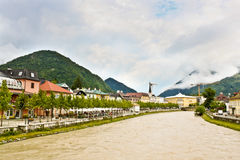Austrian town Bad Ischl on the Traun river Royalty Free Stock Image