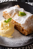 Austrian traditional apple strudel with ice cream and mint close. Up on a plate. vertical Royalty Free Stock Image
