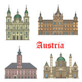 Austrian travel landmarks of architecture icon set. Austrian travel landmarks of architecture thin line icon set with Baroque church Karlskirche, Salzburg Stock Photography