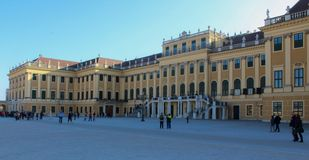 Austrian, Vienna, October 21 2018: Front side of Schoenbrunn imperial palace. It is one of the most famous sightseeing places in. Vienna royalty free stock images