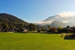 Austrian village in Alps Stock Photo