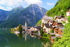 Austrian village in the Alps. Famous lake side view of Hallstatt village with Alps behind, Austria Stock Photography