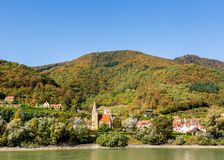 A picturesque village on the banks of the Danube River in Austri stock photography