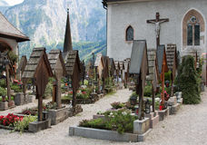 Austrian village Hallstatt cemetery on sunset Stock Images