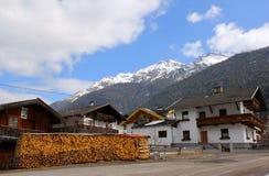 Austrian village Neder. Tirol's province. Firewood near a house stock photo