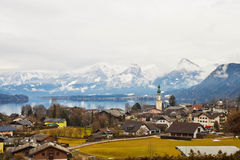Austrian village St. Gilgen on Wolfgangsee lake in Alps Stock Photos